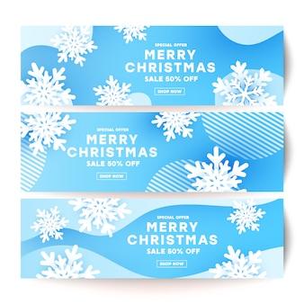 Зимний минимализм жидкость жидкой волны баннер формы с белой снежинки и тени
