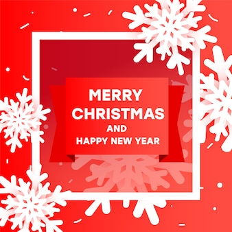 Современный креативный баннер с рождеством и новым годом с бумажной резки объемных снежинок, полукадра, градиентной ленты и текста на красном.