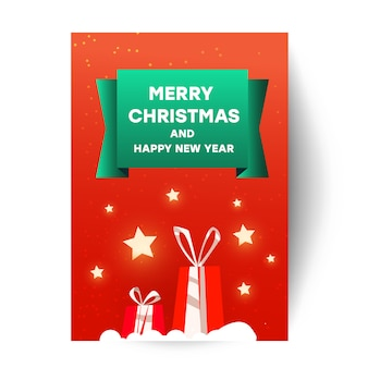 Счастливого рождества открытка шаблон с элементом рождество. красивые красные сюрпризы, подарочные коробки, звездное небо и надпись на красной равнине