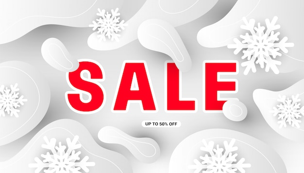 Зимний современный минимальный баннер продажи с реалистичными белыми снежинками, жидкими серыми формами на белом
