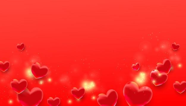 赤の紙吹雪とバブルの愛の形でバレンタインの日フラット