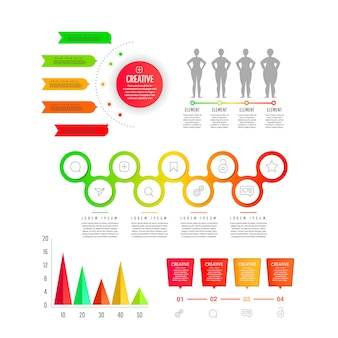 グラフ、グラフィックス、図のフラットなグラデーション要素-部品、プロセス、用語。プレゼンテーション、ウェブデザイン、バナー、ポスターのモダンなビジネステンプレート