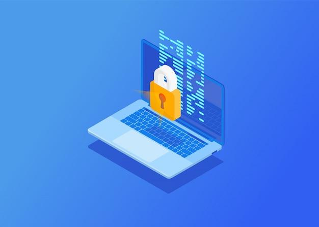 高度なセキュリティとプライバシー保護。サイバー攻撃からの保護ロック、ウイルス対策を備えた等尺性コンピューター。図