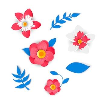 明るい花のペーパーカットスタイル。