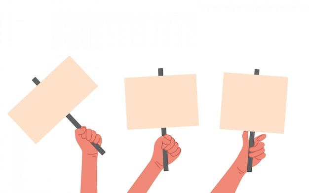 白い背景で隔離の図。抗議ポスターを持つ多くの人間の手。