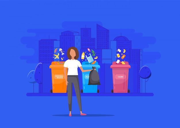 Женщина выбрасывает мусор в органический контейнер