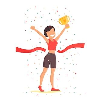 勝利。少女は勝利に喜び、カップを握る