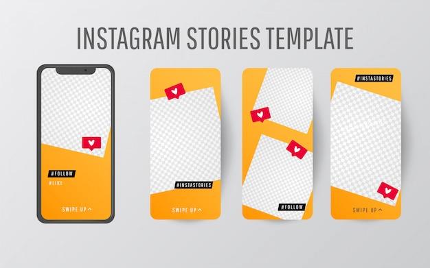 Редактируемая коллекция шаблонов истории с трендовым цветом и треугольными формами