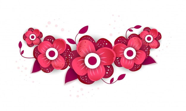 鮮やかな花の紙カット風