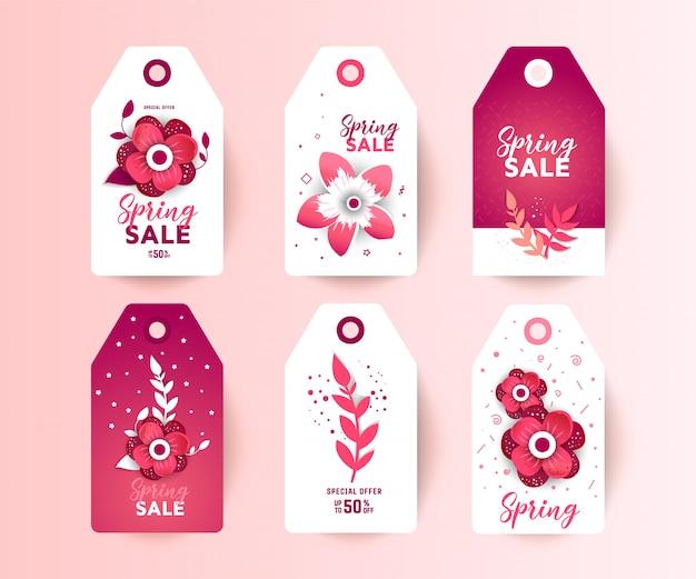 Весенняя распродажа этикеток с декором из бумаги срезанных цветов.