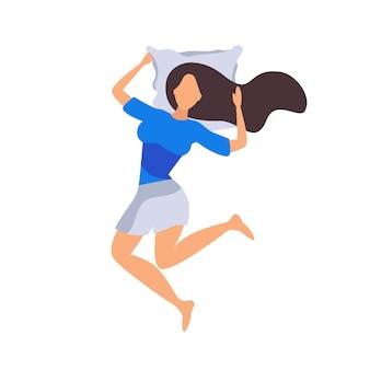 女性はベッドで寝ています。