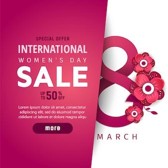 Международный женский день продажи плакат.