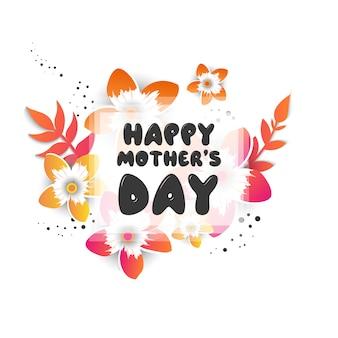 花折り紙の花を持つ母の日グリーティングカード
