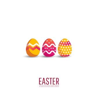 カラフルな卵とハッピーイースターの背景