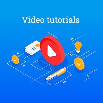 ビデオチュートリアルのクリエイティブなフラットコンセプトウェブバナー。ビデオ会議とウェビナー。