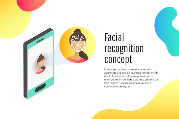 若い女性の顔識別のフラットの概念。