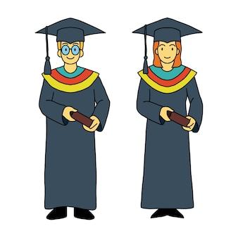 卒業生の男の女性の漫画のスタイルベクトル