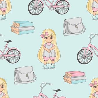 学校のシームレスなパターンの色の図鑑学校の女の子