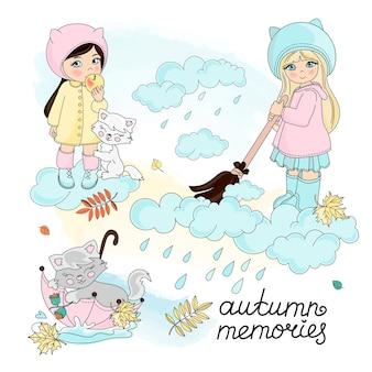 秋のベクトルイラストセットカラー秋の子供