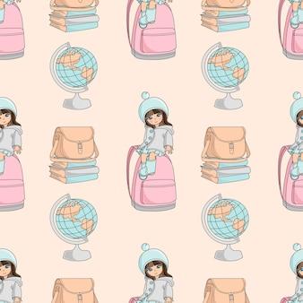 女の子と世界の学校のシームレスなパターンのベクトル図