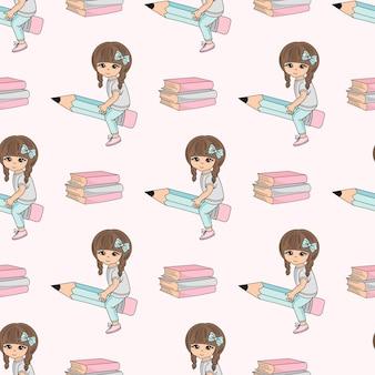 学校のシームレスなパターンのベクトル図ペンシルの女の子