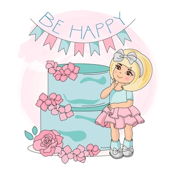 幸せな女の子スクラップブッキングのためのカラーベクトルイラストセット