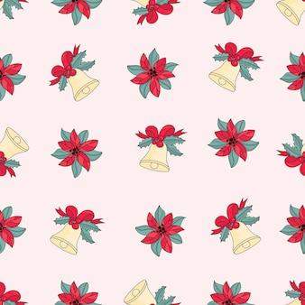ピンクジャングルベルトメリークリスマスシームレスパターン
