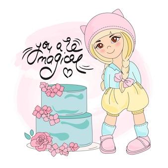 ケーキ女の子カラーベクトルイラストセット