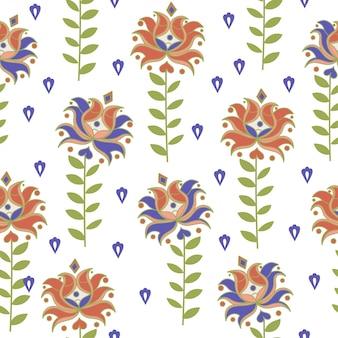 華やかな白い東洋のシームレスパターン