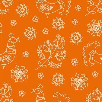 Декоративный народный орнамент этнический оранжевый