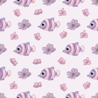 魚の花装飾的なベクトルのイラストシームレスなパターン