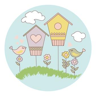 春の鳥漫画ベクトルイラストセット