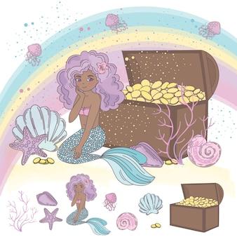 海洋の宝物漫画旅行ベクトルイラストセット