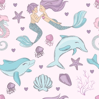 Счастливый дельфин русалка бесшовные шаблон векторные иллюстрации