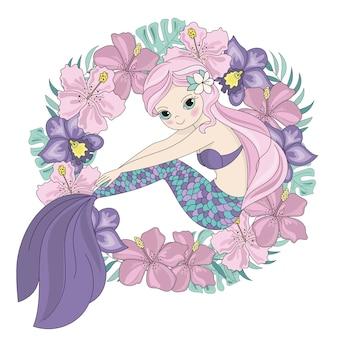 かわいい人魚姫の花輪イラスト