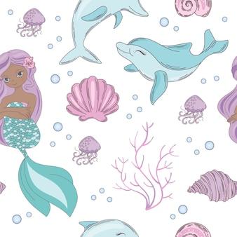 海マーメイドプリンセスシームレスパターン