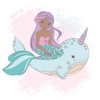 Кит единорог русалка принцесса море вектор