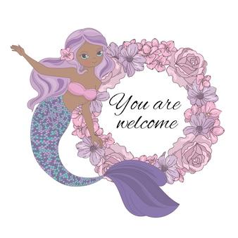 Русалка приветствует венок морской принцессы