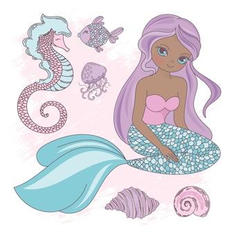 座っているマーメイド王女海の動物