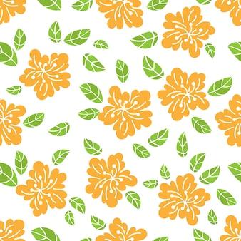 抽象的な花の生地のシームレスなパターン