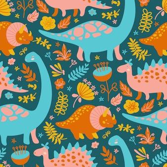 Дино текстиль гранж доисторические животные бесшовные