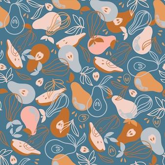 梨繊維テキスタイルおいしいフルーツ自然手描きのシームレスなパターンベクトルイラスト印刷用