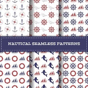 Набор векторных морских бесшовные шаблоны