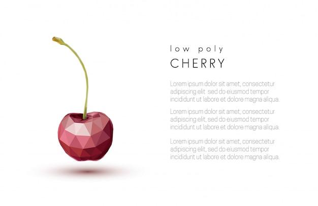 抽象的な赤い桜。低ポリスタイルデザイン
