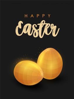Низкополигональная золотые пасхальные яйца. счастливой пасхи.