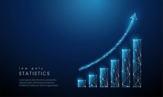 抽象的な青い増加グラフ。低ポリスタイルのデザイン