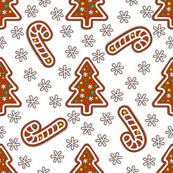 白い背景にジンジャーブレッドキャンディシームレスパターン