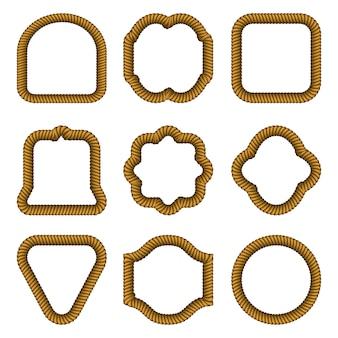 Набор рамок различной формы из веревки.
