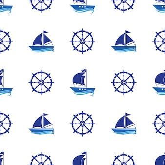 Бесшовный фон с изображением яхт, якоря, рулевого колеса.