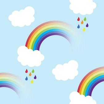 虹、白い雲